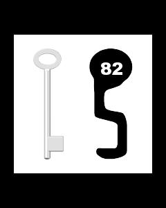 Buntbartschlüssel für Kastenschloss Nr. 82 (Abbildung von der Ringseite aus gesehen)