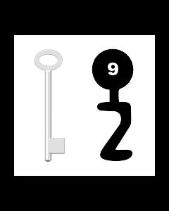 Buntbartschlüssel für Kastenschloss Nr. 9 (Abbildung von der Ringseite aus gesehen)