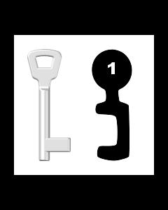 Buntbartschlüssel KIMA Nr. 1 (Abbildung von der Ringseite aus gesehen)