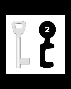 Buntbartschlüssel KIMA Nr. 2 (Abbildung von der Ringseite aus gesehen)