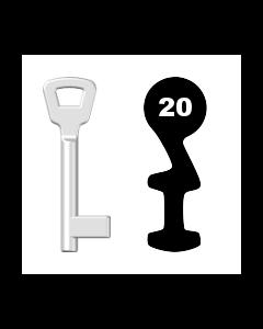 Buntbartschlüssel KIMA Nr. 20 (Abbildung von der Ringseite aus gesehen)