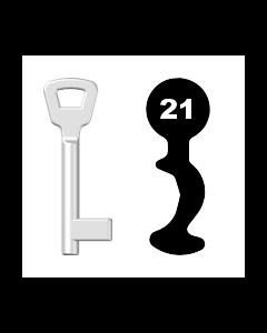 Buntbartschlüssel KIMA Nr. 21 (Abbildung von der Ringseite aus gesehen)