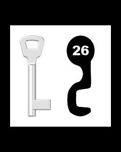 Buntbartschlüssel KIMA Nr. 26 (Abbildung von der Ringseite aus gesehen)
