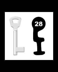 Buntbartschlüssel KIMA Nr. 28 (Abbildung von der Ringseite aus gesehen)