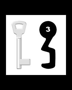 Buntbartschlüssel KIMA Nr. 3 (Abbildung von der Ringseite aus gesehen)