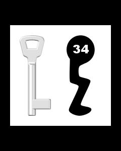 Buntbartschlüssel KIMA Nr. 34 (Abbildung von der Ringseite aus gesehen)
