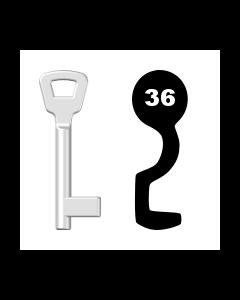 Buntbartschlüssel KIMA Nr. 36 (Abbildung von der Ringseite aus gesehen)