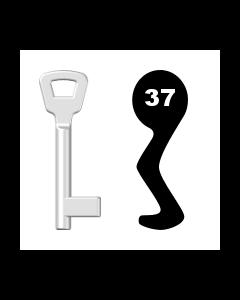 Buntbartschlüssel KIMA Nr. 37 (Abbildung von der Ringseite aus gesehen)