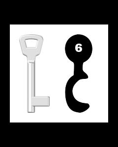 Buntbartschlüssel KIMA Nr. 6 (Abbildung von der Ringseite aus gesehen)
