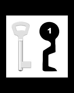 Buntbartschlüssel Nemef Nr. 1 (Abbildung von der Ringseite aus gesehen)