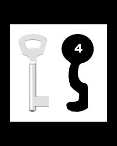 Buntbartschlüssel Nemef Nr. 4 (Abbildung von der Ringseite aus gesehen)