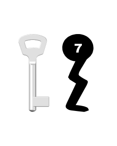 Buntbartschlüssel Nemef Nr. 7 (Abbildung von der Ringseite aus gesehen)