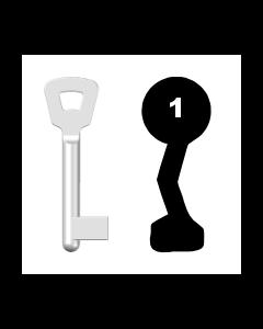 Buntbartschlüssel Novoferm Nr. 1 (Abbildung von der Ringseite aus gesehen)