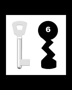 Buntbartschlüssel Novoferm Nr. 6 (Abbildung von der Ringseite aus gesehen)
