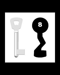 Buntbartschlüssel Novoferm Nr. 8 (Abbildung von der Ringseite aus gesehen)