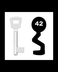 Buntbartschlüssel Pegau Nr. 42 (Abbildung von der Ringseite aus gesehen)