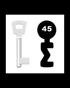 Buntbartschlüssel Pegau Nr. 45 (Abbildung von der Ringseite aus gesehen)