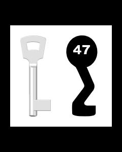 Buntbartschlüssel Pegau Nr. 47 (Abbildung von der Ringseite aus gesehen)