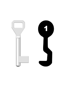 Buntbartschlüssel Sächsische Schlossfabrik Nr. 1 (Abbildung von der Ringseite aus gesehen)