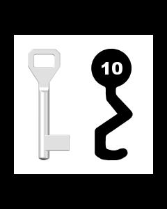 Buntbartschlüssel Sächsische Schlossfabrik Nr. 10 (Abbildung von der Ringseite aus gesehen)