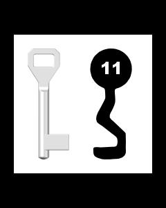 Buntbartschlüssel Sächsische Schlossfabrik Nr. 11 (Abbildung von der Ringseite aus gesehen)