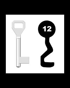 Buntbartschlüssel Sächsische Schlossfabrik Nr. 12 (Abbildung von der Ringseite aus gesehen)