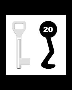 Buntbartschlüssel Sächsische Schlossfabrik Nr. 20 (Abbildung von der Ringseite aus gesehen)