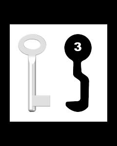 Buntbartschlüssel Sächsische Schlossfabrik Nr. 3 (Abbildung von der Ringseite aus gesehen)