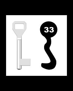 Buntbartschlüssel Sächsische Schlossfabrik Nr. 33 (Abbildung von der Ringseite aus gesehen)
