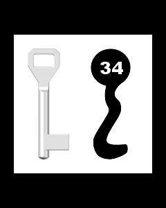 Buntbartschlüssel Sächsische Schlossfabrik Nr. 34 (Abbildung von der Ringseite aus gesehen)