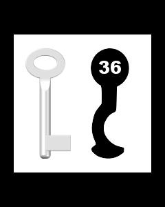 Buntbartschlüssel Sächsische Schlossfabrik Nr. 36 (Abbildung von der Ringseite aus gesehen)