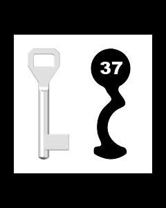 Buntbartschlüssel Sächsische Schlossfabrik Nr. 37 (Abbildung von der Ringseite aus gesehen)