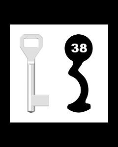 Buntbartschlüssel Sächsische Schlossfabrik Nr. 38 (Abbildung von der Ringseite aus gesehen)