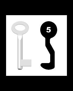 Buntbartschlüssel Sächsische Schlossfabrik Nr. 5 (Abbildung von der Ringseite aus gesehen)