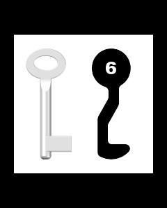 Buntbartschlüssel Sächsische Schlossfabrik Nr. 6 (Abbildung von der Ringseite aus gesehen)