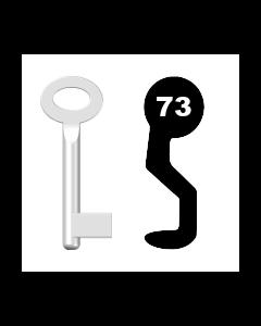 Buntbartschlüssel Sächsische Schlossfabrik Nr. 73 (Abbildung von der Ringseite aus gesehen)