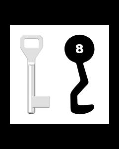 Buntbartschlüssel Sächsische Schlossfabrik Nr. 8 (Abbildung von der Ringseite aus gesehen)