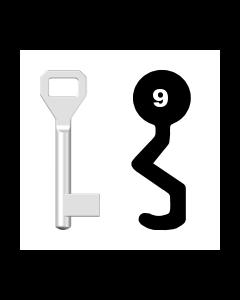 Buntbartschlüssel Sächsische Schlossfabrik Nr. 9 (Abbildung von der Ringseite aus gesehen)