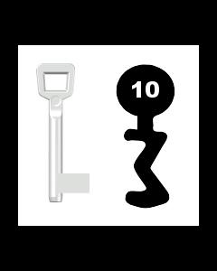 Buntbartschlüssel Schulte Schlagbaum Nr. 10 (Abbildung von der Ringseite aus gesehen)