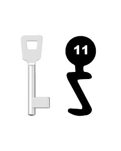 Buntbartschlüssel Schulte Schlagbaum Nr. 11 (Abbildung von der Ringseite aus gesehen)