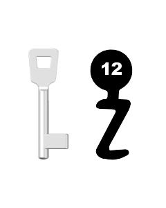 Buntbartschlüssel Schulte Schlagbaum Nr. 12 (Abbildung von der Ringseite aus gesehen)