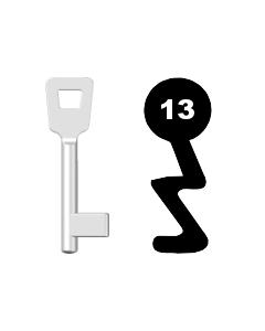 Buntbartschlüssel Schulte Schlagbaum Nr. 13 (Abbildung von der Ringseite aus gesehen)