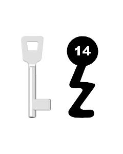 Buntbartschlüssel Schulte Schlagbaum Nr. 14 (Abbildung von der Ringseite aus gesehen)