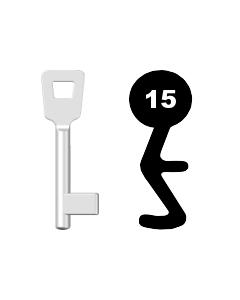 Buntbartschlüssel Schulte Schlagbaum Nr. 15 (Abbildung von der Ringseite aus gesehen)