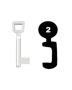 Buntbartschlüssel Schulte Schlagbaum Nr. 2 (Abbildung von der Ringseite aus gesehen)