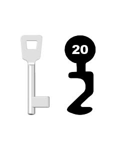 Buntbartschlüssel Schulte Schlagbaum Nr. 20 (Abbildung von der Ringseite aus gesehen)