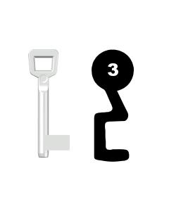 Buntbartschlüssel Schulte Schlagbaum Nr. 3 (Abbildung von der Ringseite aus gesehen)