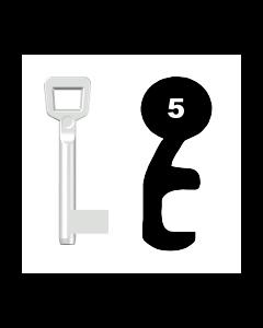 Buntbartschlüssel Schulte Schlagbaum Nr. 5 (Abbildung von der Ringseite aus gesehen)