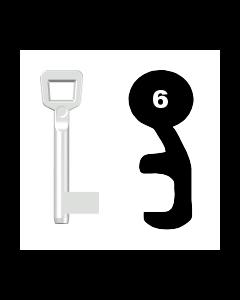 Buntbartschlüssel Schulte Schlagbaum Nr. 6 (Abbildung von der Ringseite aus gesehen)