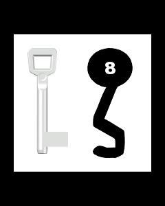 Buntbartschlüssel Schulte Schlagbaum Nr. 8 (Abbildung von der Ringseite aus gesehen)